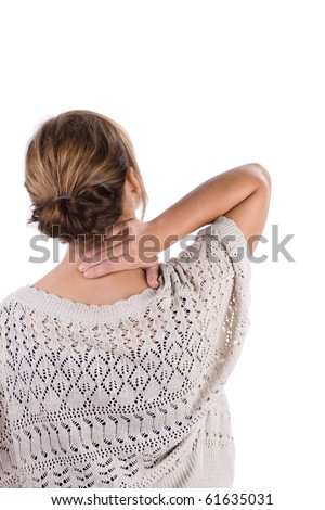 Woman holds a hand on pain neck. Isolated on white background - stock photo