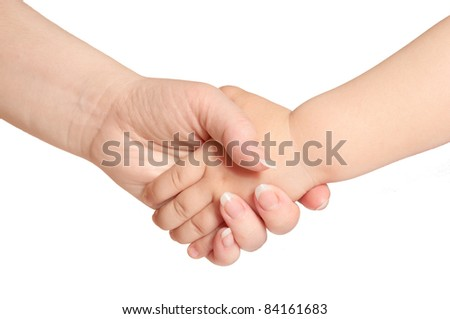 woman holds by the hand the child