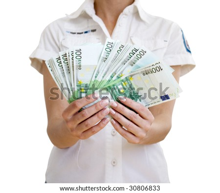 Woman holds in hands of euro (isolated from a background) - stock photo