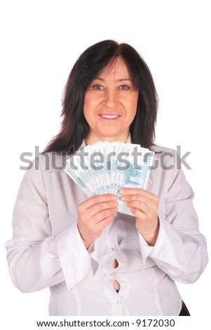 Woman holds rubles