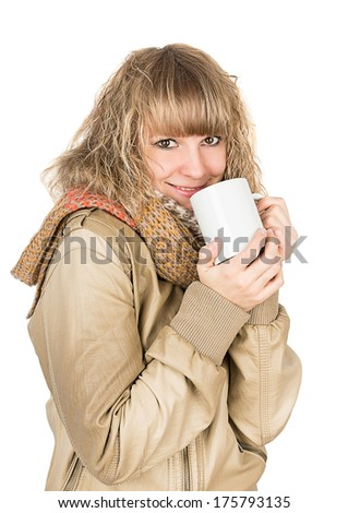 woman hot tea isolated on white background
