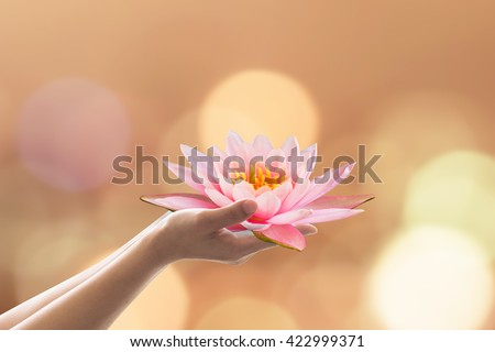 Woman human prayer hand holding lotus water lily flower worship Vesak Vesakha Buddha's birthday: Buddhist holiday bringing happiness Asalha Bucha Adhi Esala full moon Poya day gold candle light bokeh - stock photo