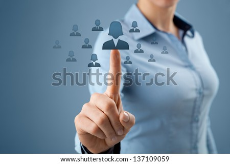 Woman human resources officer realize gender equality by choosing woman employee. Women in business, CRM, data mining and gender equality quotes concept also.  - stock photo