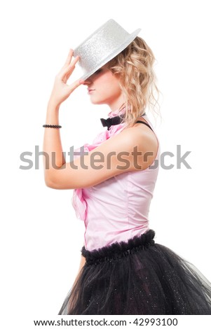 Woman illusionist with magician hat stand in profile, isolated on white - stock photo