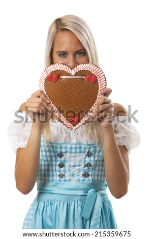 woman in a bavarian dirndl  - stock photo