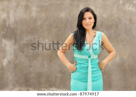 Woman in a beautiful blue dress