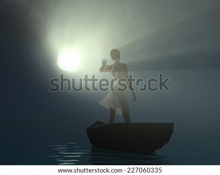 woman in a boat blinded light beam - stock photo
