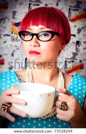 Woman in a cherry dress. - stock photo