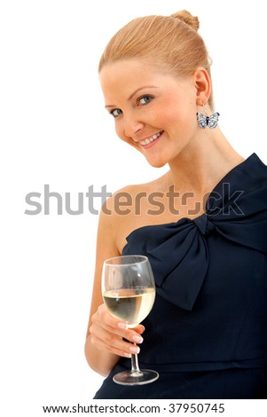 Woman in a cocktail dress and a glass of wine isolated - stock photo