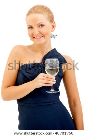 Woman in a cocktail dress with a wineglass isolated over a white background - stock photo