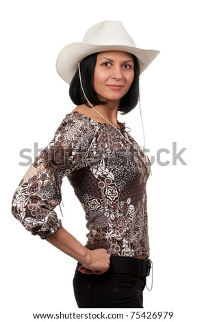 woman in a cowboy hat isolated on white background - stock photo