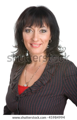 Woman in a dark suit poses on a white background - stock photo
