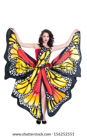 Woman Dress Pattern Monarch Butterflies Fancydress Stock Photo ...
