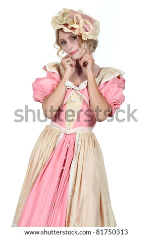 Woman in a flouncy period fancy dress costume - stock photo