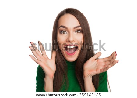 Woman in a green turtleneck showing emotions and feelings