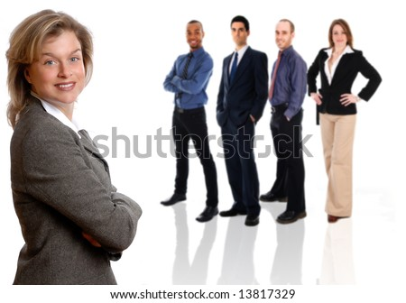 woman in a grey jacket on an isolated white with team - stock photo