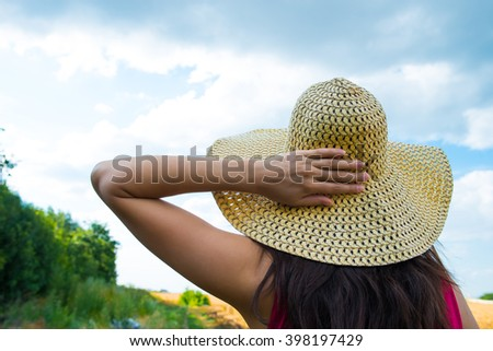 woman in a hat - stock photo