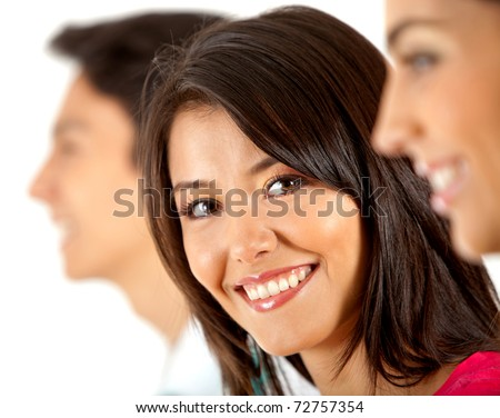 Woman in a line of people smiling - isolated over white