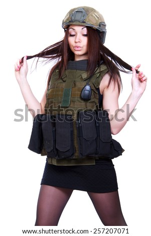 Woman in a military camouflage isolated over white background - stock photo