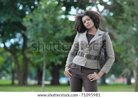 Woman in a nature setting - stock photo