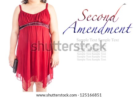 Woman in a red dress holding a handgun isolated on white. Added text for second amendment with space for plenty of custom text, this is a perfect image for gun control and the second amendment - stock photo