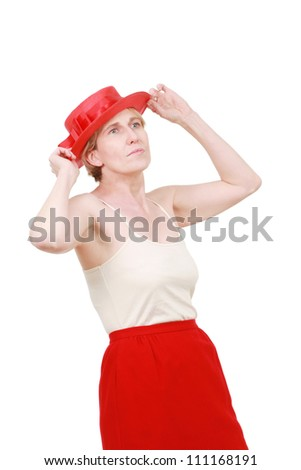 Woman in a red hat - stock photo