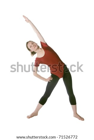Woman in a red leotard exercising on a mat over white background