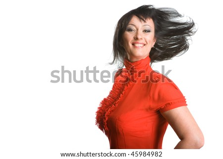 Woman in a red shirt poses on a white background - stock photo