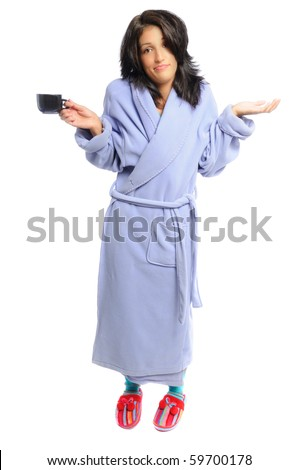 woman in a robe and slippers holding her coffee on a white background - stock photo