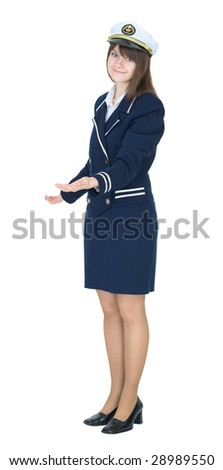 Woman in a sea uniform on white background - stock photo