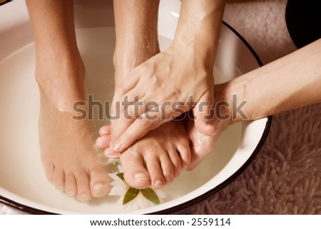 woman in a spa getting a foot massage