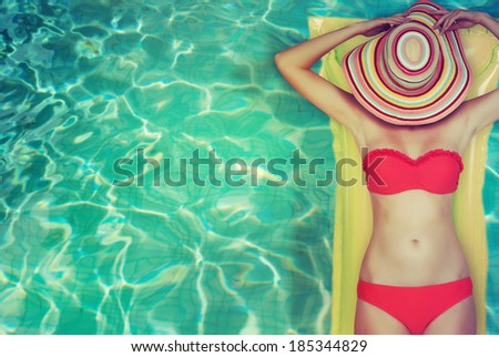 woman in a swimming pool  - stock photo