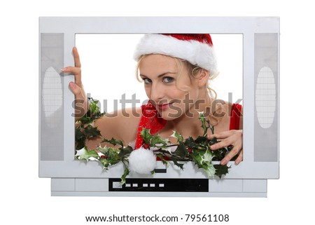 Woman in a television screen