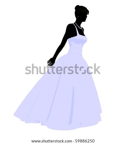 Woman in a wedding dress silhouette illustration on a white background - stock photo