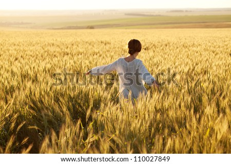 Woman in a wheat field on a summer evening - stock photo