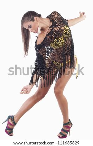 woman in a yellow bikini in the mesh scarf - stock photo