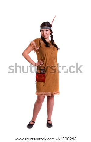 Woman in american indian costume - stock photo