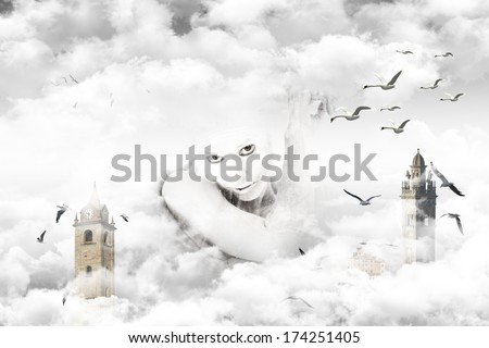 Woman in an imaginative landscape of clouds steeples, seagulls and swans in flight - stock photo