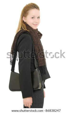 Woman in autumn clothes with a satchel on a white background - stock photo