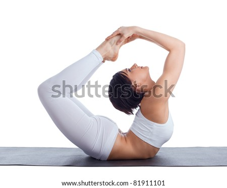 woman in back bends yoga - bow pose isolated - stock photo