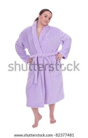 woman in bathrobe - stock photo