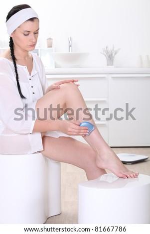 woman in bathroom - stock photo