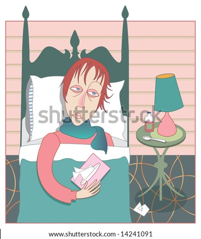 Woman in bed looking miserable with a head cold and flu, with tissue box and cough syrup - stock photo