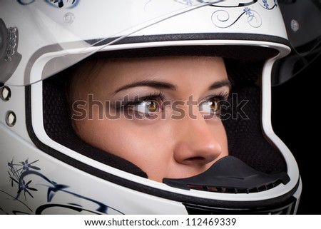 woman in biker helmet, motorcycle helmet - stock photo