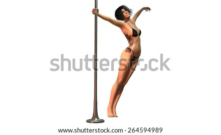 woman in bikini pole dance separated on white background - stock photo