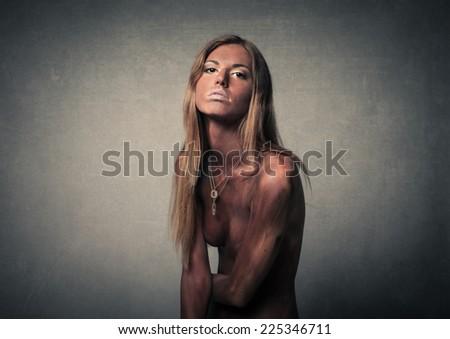 Woman in black  - stock photo