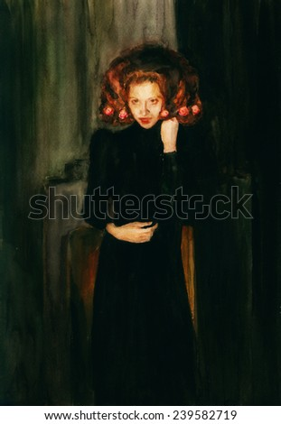 Woman in black. A beautiful woman dressed in vintage dress. Watercolor painting.  - stock photo