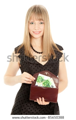 Woman in black dress holding a purse isolated on white - stock photo