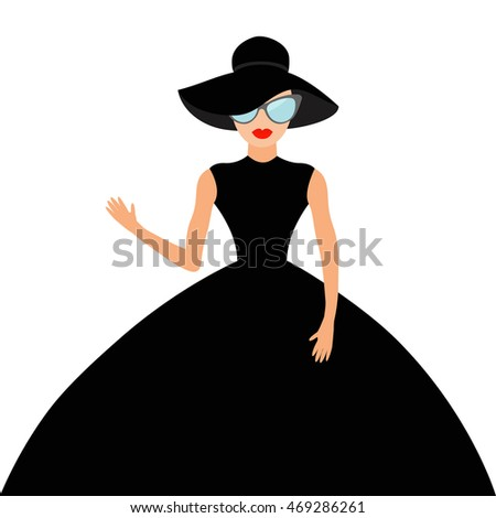 Black dress red lips character