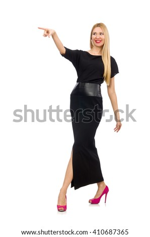 Woman in black evening dress isolated on white - stock photo